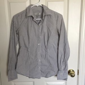 Gray and white striped long-sleeve button down